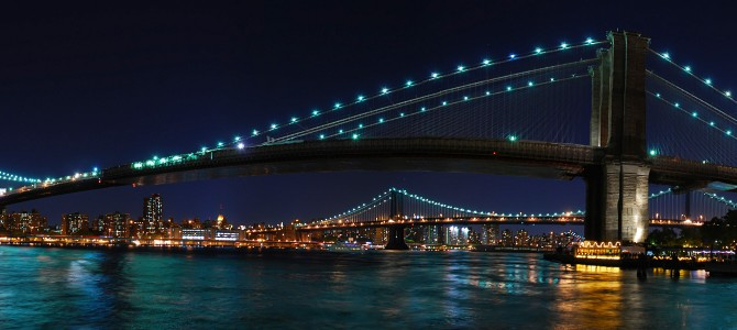 Brooklyn bridge during super harvest moon new york u s
