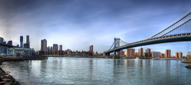 Brooklyn bridge right and manhattan bridge left new york us