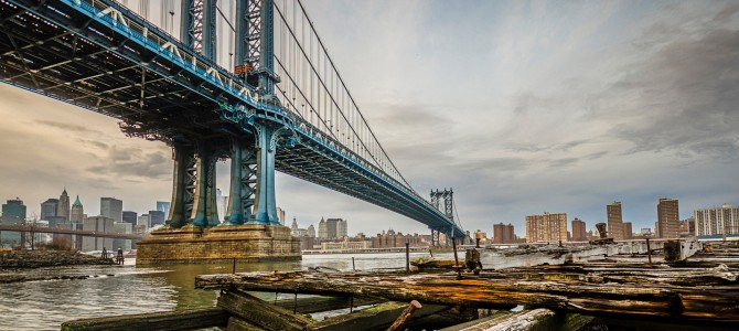 Dumbo down under the manhattan bridge overpass brooklyn new york us