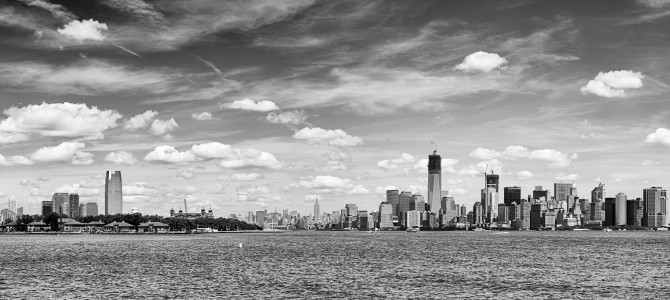 Manhattan New-York and Jersey City New-Jersey from upper bay US