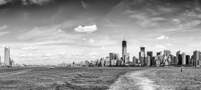 Manhattan new york and jersey city new jersey from upper bay us