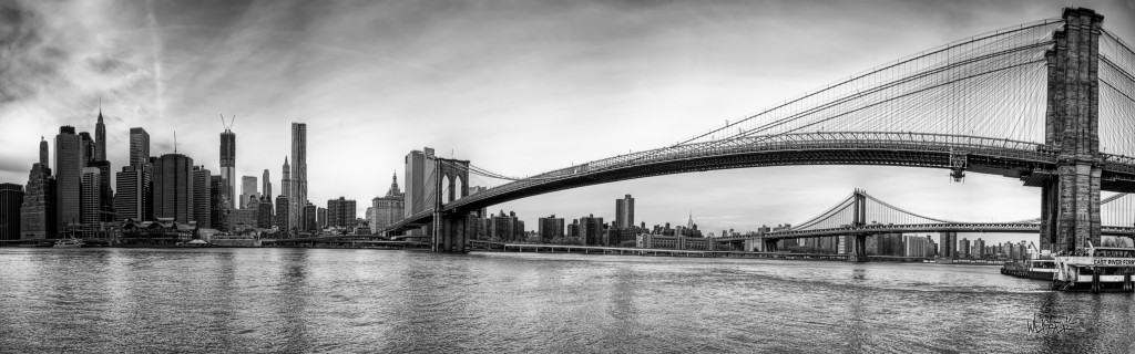 Download Manhattan Skyline With Brooklyn Bridge Foreground And Background New York U S HD Widescreen