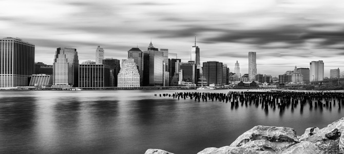 Manhattan view from brooklyn bridge park new york u s black