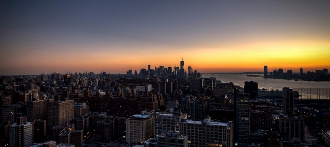 Orange sunset over manhattan new york u s