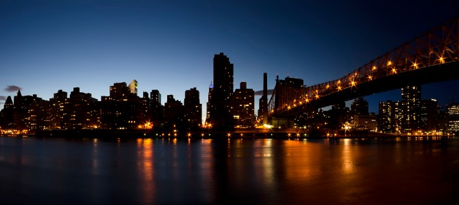 Queensboro bridge at night new york u s