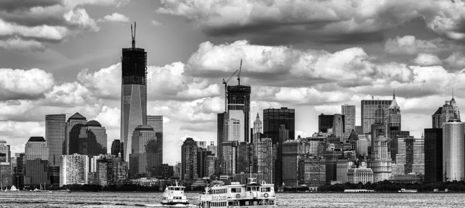 View of tour boats headed to liberty island new york harbor new york us